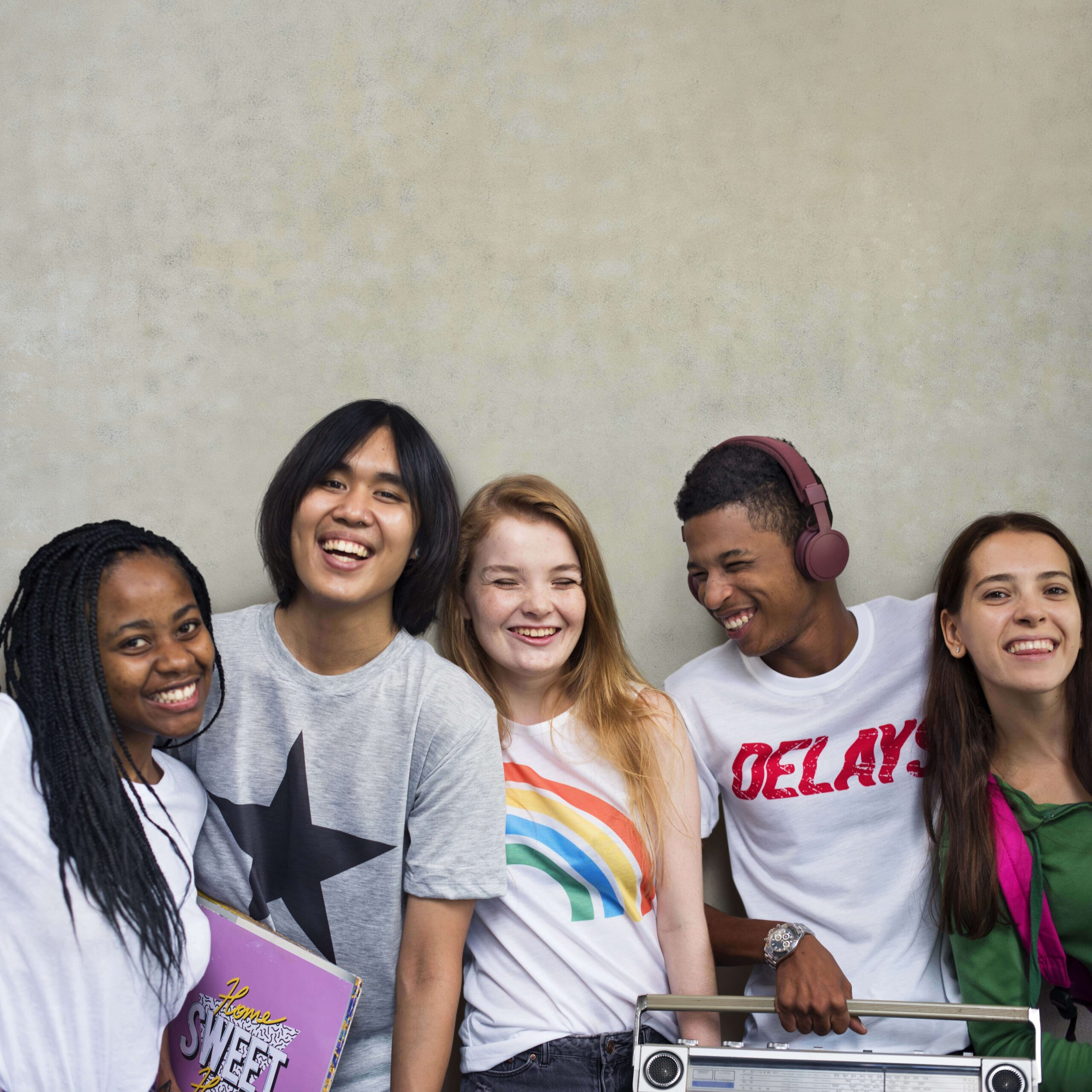 diverse group of male and female teens