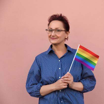 lgbtq woman on pink background
